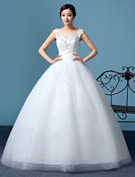A-line Wedding Dress Floor-length Scoop Lace / Tulle with Lace