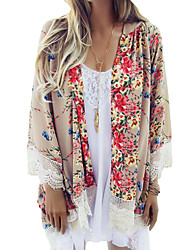 Women's Boho Loose Chiffon Kimono Cardigan Floral Print Lace Hem Long Sleeve Beach Casual Boho Outerwear Top