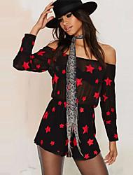 Women's Print Black Jumpsuits,Sexy / Beach Boat Neck Long Sleeve
