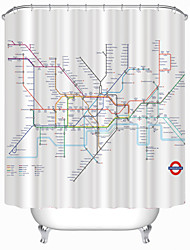 "Modern London Subway Map Shower Curtains W71""×L71"""