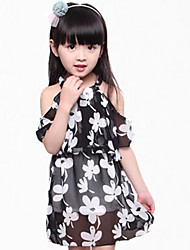 Girl's Black / White Dress,Floral Polyester Summer
