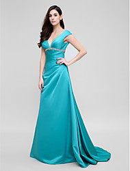 TS Couture® Formal Evening Dress - Jade A-line V-neck Court Train Satin
