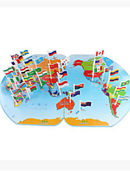 Wooden Puzzle Flag in the World Map to Insert the Flag of the Flag of the World