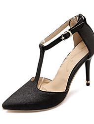 Wedding Shoes-Saltos-Saltos / Tira em T / Bico Fino-Preto / Roxo / Prateado / Dourado-Feminino / Para Meninas-Casamento / Social / Festas
