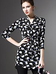 Women's Print Blue / Red Blouse,V Neck ¾ Sleeve