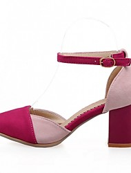 Women's Shoes Leatherette Chunky Heel Heels Heels Wedding / Office & Career / Party & Evening Blue / Red
