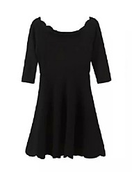 Women's Sexy Solid A Line Dress,Boat Neck Mini Polyester