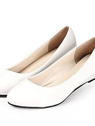 Черный / Белый-Женская обувь-Для офиса-Дерматин-На низком каблуке-На каблуках-Обувь на каблуках