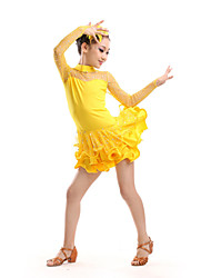 Latin Dance Children's Performance Polyester / Tulle Rhinestones Dresses Dance Costumes