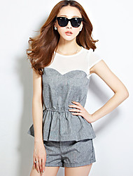 Women's Casual/Daily Sexy / Street chic Summer Set,Color Block Round Neck Short Sleeve Gray Linen / Rayon Thin