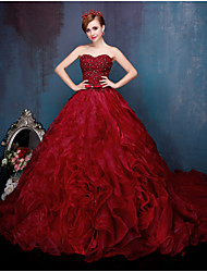 Princess Wedding Dress-Burgundy Cathedral Train Sweetheart Lace / Organza