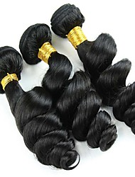 Mix Size 3Pcs/Lot 8-26inch Peruvian Virgin Hair Loose Wave Black Color Raw Human Hair Weaves Wholesales.