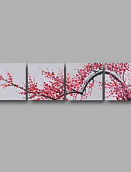 "Stretched (ready to hang) Hand-painted Oil Painting 80""x20"" Canvas Wall Art Modern Flowers Pink Blossom"