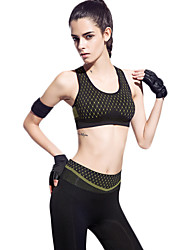 Lady Fashion Padded Bra Top Gym Sports Yoga Stretch Athletic Vest Black with Yellow Print 003