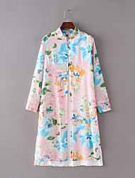 Women's Vintage / Simple Floral Tunic Dress,Stand Midi Cotton / Linen