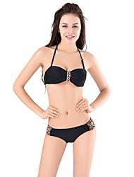 Damen Bikinis / Tankinis - Einheitliche Farbe / Push-Up Push-Up / Bügel-BH / Fixierter Gurt / Doppelte Gurte / EinstellbarNylon /