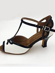 Chaussures de danse(Blanc) -Personnalisables-Talon Aiguille-Cuir-Latine