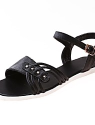 Women's Shoes Leather Flat Heel Gladiator / Ankle Strap Sandals Dress / Casual Black / Red / White / Beige