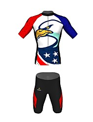 MYKING Men's Cycling Bike Short Sleeve Clothing Set Bicycle Wear Suit Jersey and Shorts Eagle