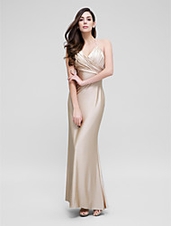 Formal Evening Dress Trumpet / Mermaid Halter Ankle-length Jersey with Criss Cross