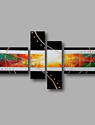 "gestreckt (fertig zum Aufhängen) bemalt Hand Ölgemälde 64 ""x40"" Leinwand Wandkunst moderne abstrakte schwarz goldgelb"