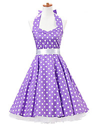 50s Era Vintage Style Halterneck Rockabilly Dress Cosplay Costume Purple White Polka Dot (with Petticoat)