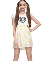Vestido de maternidad Sobre la rodilla Frunce-Poliéster-Escote Redondo Manga Corta