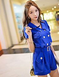 Women's Solid Blue Jumpsuits,Casual / Day Shirt Collar Short Sleeve