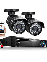 Annke® 4CH 960H HDMI DVR 2PCS 800TVL IR Outdoor Weatherproof CCTV Camera  Home Security System Kits With 1TB