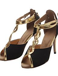 Customizable Women's Dance Shoes Latin / Jazz / Swing Shoes / Salsa / Samba Flocking Customized Heel Black