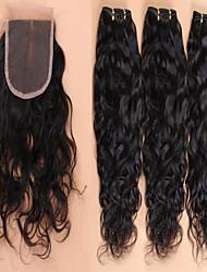 cabelo virgem brasileiro com fechamento lace onda brasileira fechamento com cabelo feixes 4pcs / lot