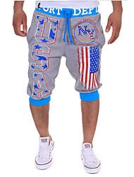Men's Print Casual Sweatpants,Cotton Blue / Gray