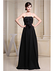Floor-length Chiffon Bridesmaid Dress-Black A-line Strapless
