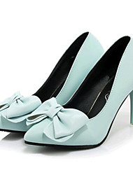 Women's Shoes Leatherette Spring / Summer / Fall Heels Wedding / Party & Evening Stiletto Heel Bowknot Black / Blue / Pink