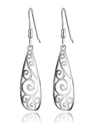 Vintage Silver Long Earrings Filigree Teardrop Fashion Jewelry Drop Earrings