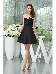 Cocktail Party Dress-Black A-line Sweetheart Short/Mini Taffeta