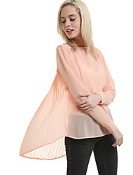 Women's Round Neck Blouse , Chiffon Long Sleeve