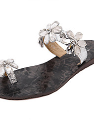 Women's Shoes Synthetic Flat Heel Slingback Sandals Dress Black / Silver