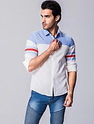 Men's Striped / Patchwork Casual Shirt,Cotton Long Sleeve White