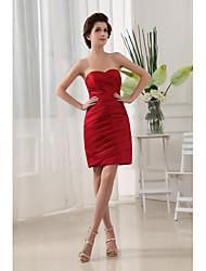 Cocktail Party Dress-Ruby Sheath/Column Sweetheart Short/Mini Satin