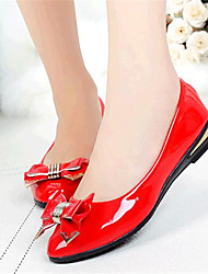 Women's Shoes Leatherette Spring / Fall Comfort Flats Outdoor / Casual Flat Heel Bowknot Black / Pink / Red / White