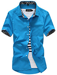 Men's Casual/Daily Work Formal Shirt,Solid Short Sleeve Cotton