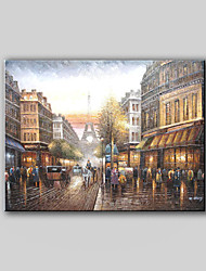 Canvas Hand-Painted Landscape Oil Painting Street Scene Paris Street Without any Frame