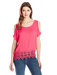Women's Casual/Daily Sexy Summer Blouse,Patchwork Round Neck Short Sleeve Red Cotton Opaque