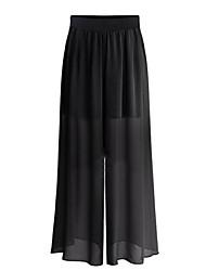 Mulheres Calças Plus Sizes Perna larga Poliéster Sem Elasticidade Mulheres