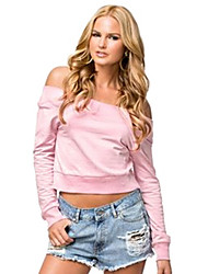 Women's Solid Pink Blouse,Off Shoulder Long Sleeve