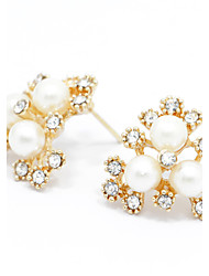 Sweet Pearl Stud Earrings Gold Jewelry