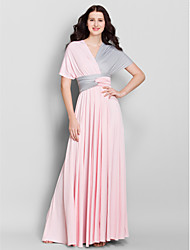 LAN TING BRIDE Ankle-length V-neck Bridesmaid Dress - Convertible Dress Sleeveless Jersey