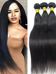 Color negro natural peruano pelo lacio pelo virginal 8-26inch barato pelo peruano del pelo humano sin procesar teje