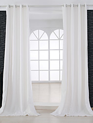 Two Panels Modern Solid Beige Bedroom Linen / Cotton Blend Panel Curtains Drapes